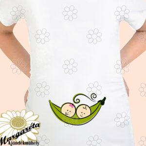 Kismama póló borsó ikrek fiú lány