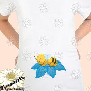 Kismama póló kék virágon méhike