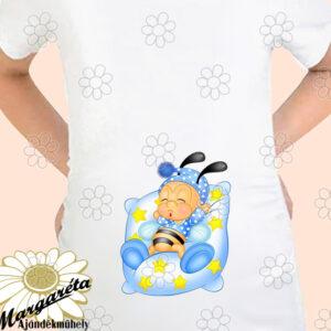 Kismama póló párnán méhi fiú