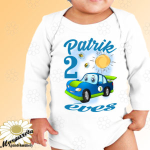 Szülinapos body kék autó