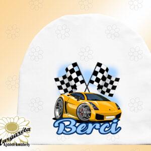 Sapka névvel autó sport sárga