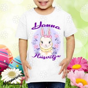 Húsvéti póló névvel nyuszikoszorú