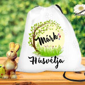 Húsvéti tornazsák névvel faágon