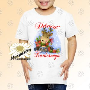 Karácsonyi gyerekpóló szarvas csücsül