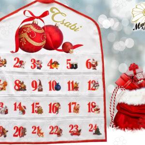Egyedi Adventi naptár Piros nagygömbök