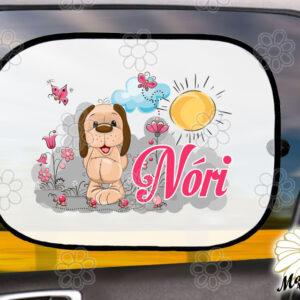 Egyedi autós napellenző névvel kutyus