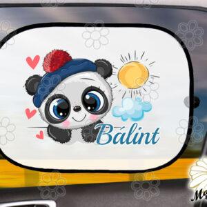 Egyedi autós napellenző névvel pandafiú