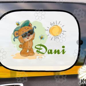 Egyedi autós napellenző névvel macinapszemcsi