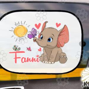 Egyedi autós napellenző névvel Elefánt pillangók