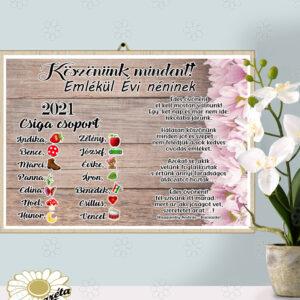 Akasztható tábla emlékül Óvó néninek A4