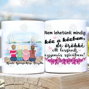 Rajzolt bögre Lány tesók/barátnők4