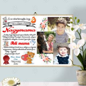 Akasztható tábla Nagymama okirat fotóval A/4