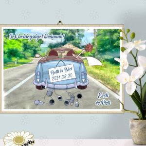 Akasztható tábla Esküvőre autós kék A/3