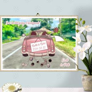 Akasztható tábla Esküvőre autós rózsaszín A/3