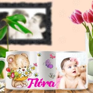 Neves bögre fotóval maci virágkosárral